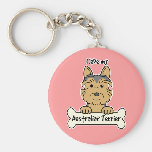 I Love My Australian Terrier Keychains