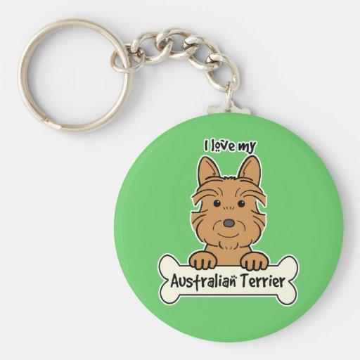 I Love My Australian Terrier Key Chain