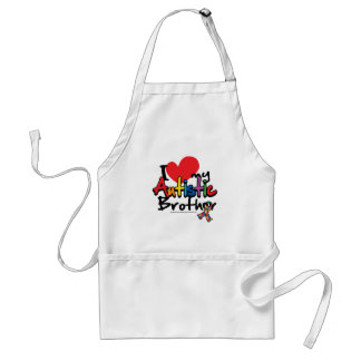 I Love My Autistic Brother Adult Apron