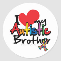 I Love My Autistic Brother Classic Round Sticker