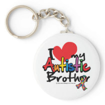 I Love My Autistic Brother Keychain