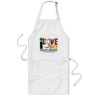 I Love My Autistic Brothers 2 AUTISM AWARENESS Long Apron