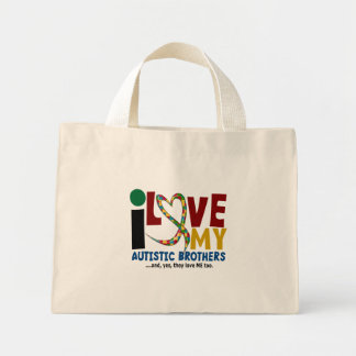 I Love My Autistic Brothers 2 AUTISM AWARENESS Mini Tote Bag