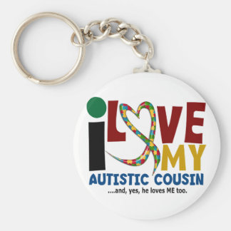 I Love My Autistic Cousin 2 AUTISM AWARENESS Basic Round Button Keychain