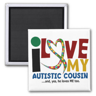 I Love My Autistic Cousin 2 AUTISM AWARENESS Refrigerator Magnets