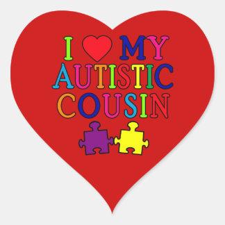 I Love My Autistic Cousin T-shirt Heart Sticker