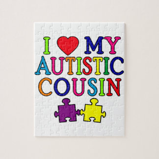 I Love My Autistic Cousin T-shirt Jigsaw Puzzle