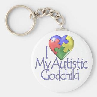 I Love My Autistic Godchild Basic Round Button Keychain