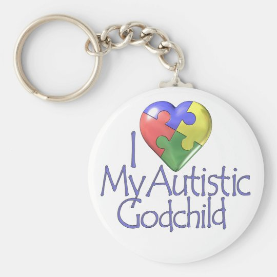 I Love My Autistic Godchild Keychain