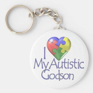 I Love My Autistic Godson Basic Round Button Keychain