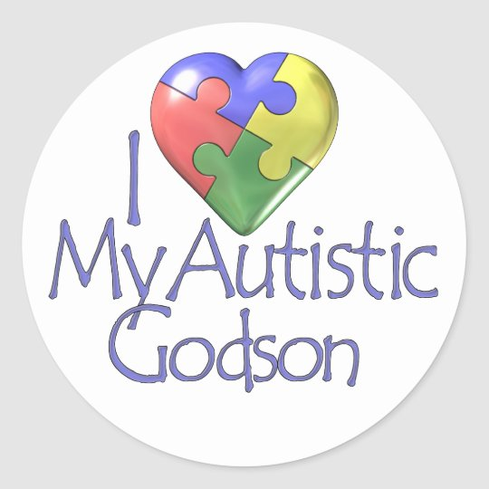 I Love My Autistic Godson Classic Round Sticker