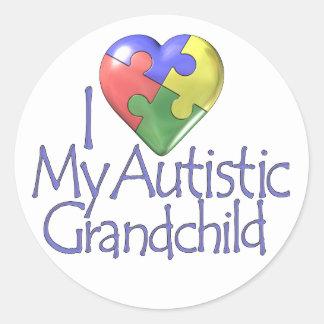 I Love My Autistic Grandchild Classic Round Sticker