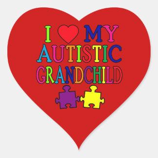 I Love My Autistic Grandchild Heart Sticker