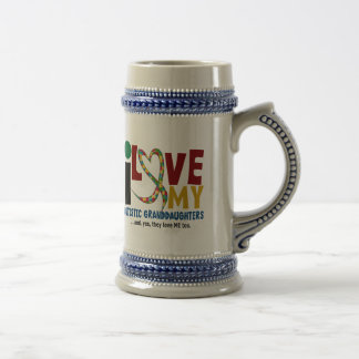 I Love My Autistic Granddaughters 2 AUTISM 18 Oz Beer Stein