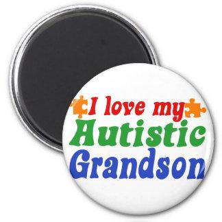 I love my Autistic Grandson 2 Inch Round Magnet