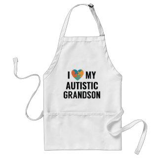 I Love My Autistic Grandson Adult Apron