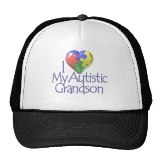 I Love My Autistic Grandson Trucker Hats