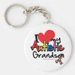 I Love My Autistic Grandson Basic Round Button Keychain