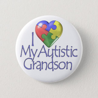 I Love My Autistic Grandson Pinback Button