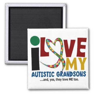 I Love My Autistic Grandsons 2 AUTISM AWARENESS 2 Inch Square Magnet