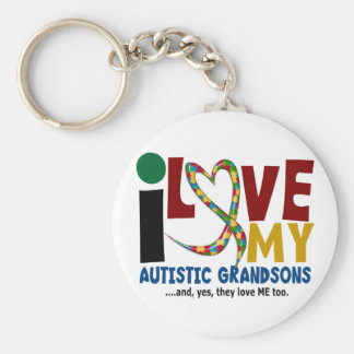 I Love My Autistic Grandsons 2 AUTISM AWARENESS Basic Round Button Keychain