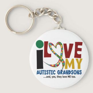 I Love My Autistic Grandsons 2 AUTISM AWARENESS Keychain