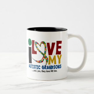 I Love My Autistic Grandsons 2 AUTISM AWARENESS Two-Tone Coffee Mug