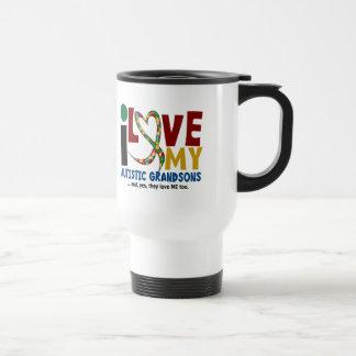 I Love My Autistic Grandsons 2 AUTISM AWARENESS Travel Mug