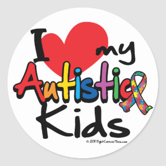 I Love My Autistic Kids Classic Round Sticker