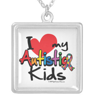 I Love My Autistic Kids Silver Plated Necklace
