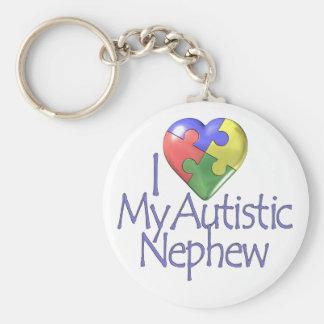I Love My Autistic Nephew Basic Round Button Keychain