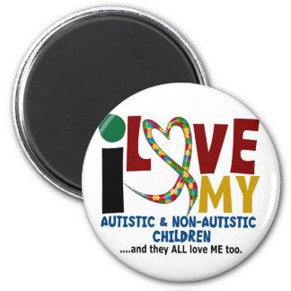 I Love My Autistic & NonAutistic Children 2 AUTISM 2 Inch Round Magnet