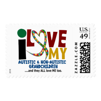 I Love My Autistic & NonAutistic Grandchildren 2 Postage