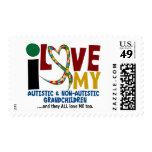 I Love My Autistic & NonAutistic Grandchildren 2 Postage Stamps