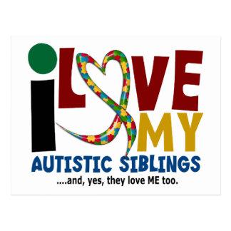 I Love My Autistic Siblings 2 AUTISM AWARENESS Postcard