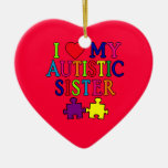 I Love My Autistic Sister Christmas Ornaments