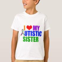 I Love My Autistic Sister Kids T-Shirt