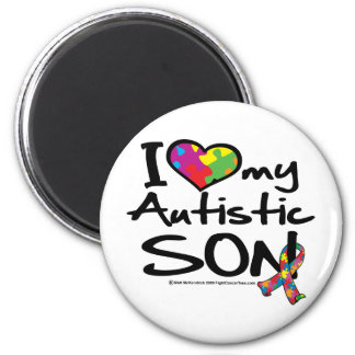 I Love My Autistic Son 2 Inch Round Magnet