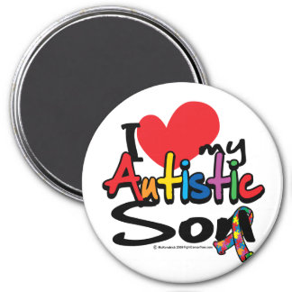 I Love My Autistic Son 3 Inch Round Magnet