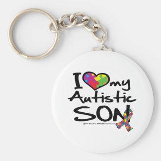 I Love My Autistic Son Basic Round Button Keychain