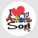 I Love My Autistic Son Classic Round Sticker