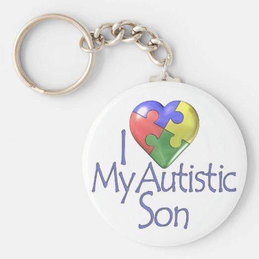 i Love My Autistic Son Key Chain