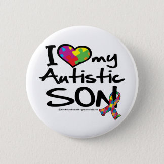 I Love My Autistic Son Pinback Button