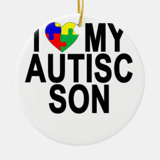 I Love My Autistic Son '.png Ceramic Ornament