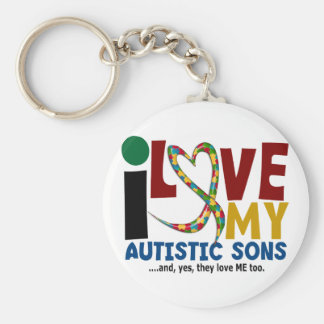 I Love My Autistic Sons 2 AUTISM AWARENESS Basic Round Button Keychain