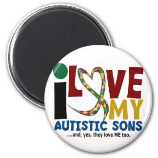 I Love My Autistic Sons 2 AUTISM AWARENESS Magnets