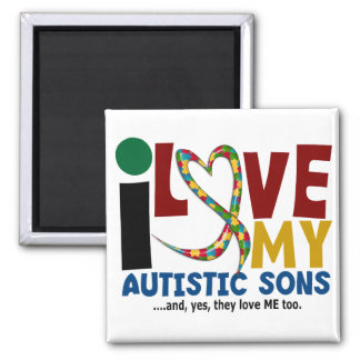 I Love My Autistic Sons 2 AUTISM AWARENESS Refrigerator Magnets