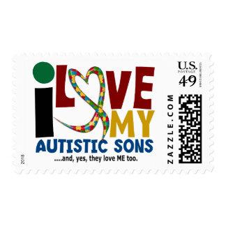 I Love My Autistic Sons 2 AUTISM AWARENESS Postage