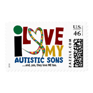 I Love My Autistic Sons 2 AUTISM AWARENESS Stamps