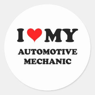 I Love My Automotive Mechanic Classic Round Sticker